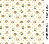 seamless pattern with furry... | Shutterstock .eps vector #455041150