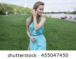 young beautiful blonde girl in... | Shutterstock . vector #455047450