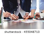 midsection of photo editors... | Shutterstock . vector #455048713