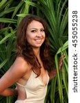 girl stand near cactus | Shutterstock . vector #455055238