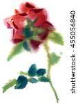 Single Red Rose  Watercolor ...
