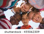 schoolkids forming huddle in... | Shutterstock . vector #455062309