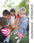 schoolkids putting their hands...   Shutterstock . vector #455062414