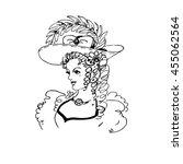 portrait of pretty woman in hat ... | Shutterstock .eps vector #455062564