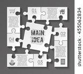 four piece puzzle business... | Shutterstock .eps vector #455062834