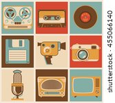 flat design vector retro media...