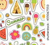 hippie embroidery colorful... | Shutterstock . vector #455067553