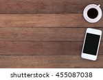 close up white coffee cup and... | Shutterstock . vector #455087038