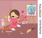 girl doodling on wall  messy... | Shutterstock .eps vector #455087956