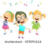 happy cartoon boys and girls... | Shutterstock .eps vector #455091616