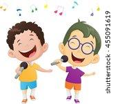 illustration of happy singing... | Shutterstock . vector #455091619