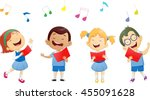 groups of school children... | Shutterstock .eps vector #455091628