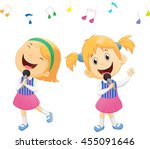 illustration of happy singing... | Shutterstock .eps vector #455091646