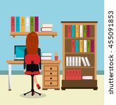 business woman in workspace... | Shutterstock .eps vector #455091853