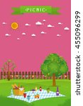 outdoor picnic in garden food... | Shutterstock .eps vector #455096299