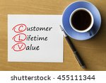 Small photo of CLV Customer Lifetime Value - handwriting on paper with cup of coffee and pen, acronym business concept