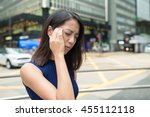 woman feeling headache | Shutterstock . vector #455112118