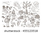 autumn season. children. walk... | Shutterstock .eps vector #455123518