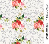 seamless floral pattern three...   Shutterstock .eps vector #455130910