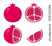 Whole And Cut Pomegranate Icon...
