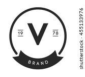 minimal letter v logo. vintage... | Shutterstock .eps vector #455133976