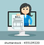 businesswoman shows on the... | Shutterstock . vector #455139220