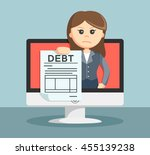 businesswoman shows on the... | Shutterstock . vector #455139238