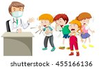 doctor and many sick children... | Shutterstock .eps vector #455166136