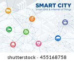 smart city line drawing... | Shutterstock .eps vector #455168758