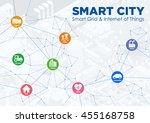 smart city line drawing... | Shutterstock .eps vector #455168758