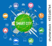 smart city on planet with... | Shutterstock .eps vector #455168764