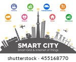 smart city on global ground... | Shutterstock .eps vector #455168770