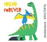 Stock vector cute dinosaur mascot template cartoon dinosaur illustration for children 455172976