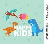 cute dinosaur mascot template.... | Shutterstock .eps vector #455173060