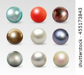 pearl realistic set isolated on ... | Shutterstock .eps vector #455173843