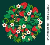 Khokhloma  pattern strawberries and flower. Vector illustration Hand drawn berries and flowers Traditional folk ornament made of circle shape.