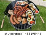 barbecue with delicious grilled ... | Shutterstock . vector #455195446