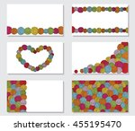 set of greeting cards with yarn ... | Shutterstock .eps vector #455195470