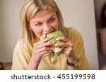 closeup picture of happy woman... | Shutterstock . vector #455199598
