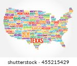 usa map word cloud collage with ... | Shutterstock .eps vector #455215429