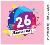 26th years greeting card... | Shutterstock .eps vector #455221306