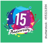 15th years greeting card... | Shutterstock .eps vector #455221354