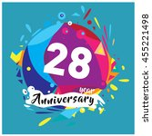 28th years greeting card... | Shutterstock .eps vector #455221498