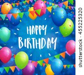birthday greeting card with... | Shutterstock .eps vector #455225320