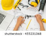 hand over construction plans... | Shutterstock . vector #455231368