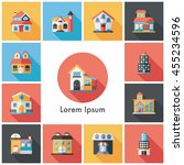 building and store icons set | Shutterstock .eps vector #455234596