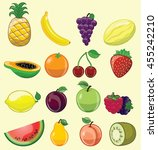 set of 16 different fruits  | Shutterstock .eps vector #455242210