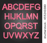 pink glamour painted alphabet... | Shutterstock .eps vector #455243380