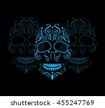 Skull Background With 3 Icons ...