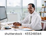 portrait of smiling indian... | Shutterstock . vector #455248564